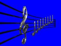 De g-sleutel en Crotchet verzilveren in de muziek van het perspectiefblad met blauwe 3D illustratie als achtergrond - doe aangaan vector illustratie