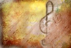 De g-sleutel muzikale affiche van Grunge Stock Foto's