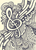 De g-sleutel neemt nota van muzikale stanza met zen-Verwarring ornamentzwarte op wit Royalty-vrije Stock Afbeelding