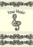 De g-sleutel neemt nota van muzikale stanza met zen-Verwarring ornamentzwarte op wit royalty-vrije illustratie