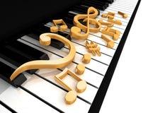 De g-sleutel is op de piano Stock Foto