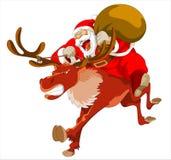 De gaande geest van Kerstmissanta met herten die heden delen royalty-vrije stock foto