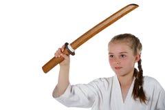 De gaande karate van het Tweenagemeisje stock afbeeldingen