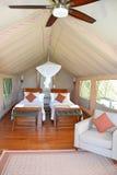 De Galapagos Safari Camp Tent Interior Stock Afbeelding
