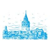 De Galata-Toren, Istanboel, Turkije Royalty-vrije Illustratie