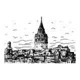 De Galata-Toren, Istanboel, Turkije Stock Illustratie