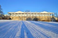 De galerij van Cameron in Catherine Park in de winter Pushkin, Tsarskoye Stock Foto's