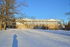 De galerij van Cameron in Catherine Park in de winter Pushkin, Tsarskoye Royalty-vrije Stock Foto