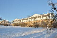 De galerij van Cameron in de winter Pushkin, Tsarskoye Selo, Pe van Heilige Stock Foto