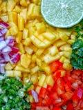 de gallo pico Mangosalsaingredienser Tärnad huggen av jordbruksprodukter latinsk mat arkivfoton