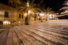 De gamla gatorna av Jaffa, Tel Aviv, Israel Royaltyfria Foton