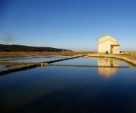 De gamla salt-pannorna i Secovlje Arkivbilder
