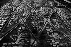 De gamla spårvagnspåren Fotografering för Bildbyråer