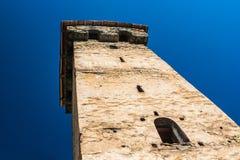 De gamla tornen i Svanetia, Mestia, Georgia Arkivbilder