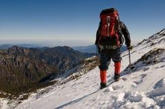 De gang van de mens op sneeuwtik royalty-vrije stock fotografie