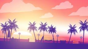 De Gang van de strandzonsondergang met Mensenzitting in de Voorgrond en de Palm Royalty-vrije Stock Foto