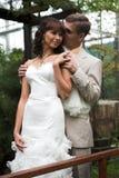 De gang van jonggehuwden Stock Foto