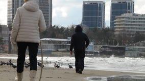 De gang van de zonsondergang op het strand Oude mensen die op het strand lopen Oude mensen die jong voelen stock video