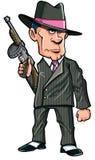 De gangster van het beeldverhaal 1920 met een machinegeweer Stock Fotografie