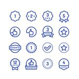 De garantie stempelt lijnpictogrammen Geïsoleerde de waarborg cirkel vectorsymbolen van de goederenduurzaamheid stock illustratie