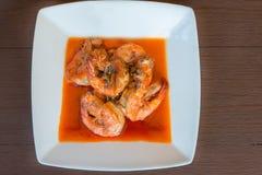 De garnalen braadden heet peper heerlijk voedsel van Thailand stock fotografie