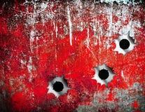 De gaten van de kogel in de plaat van het grungemetaal Stock Fotografie
