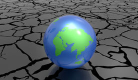De geërodeerde 3d Illustratie van het Aardeconcept op een witte achtergrond Royalty-vrije Stock Foto