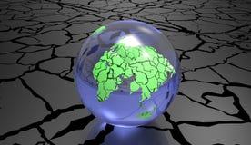 De geërodeerde 3d Illustratie van het Aardeconcept op een witte achtergrond Stock Afbeelding