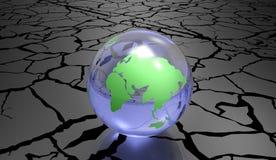 De geërodeerde 3d Illustratie van het Aardeconcept op een witte achtergrond Stock Fotografie