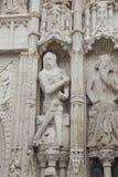De geërodeerdei Beeldhouwwerken van het Metselwerk. De kathedraal van Exeter stock afbeelding