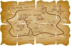 De geïllustreerde kaart van de piraatschat vector illustratie