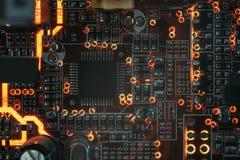 De geïntegreerde micro-electronische component van PCB microchip stock afbeeldingen