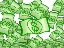De geïsoleerdeàdaling van Dollars Stock Afbeeldingen