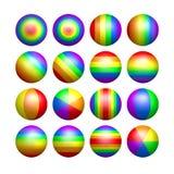 De geïsoleerde ballen van de regenboogkleur Stock Fotografie