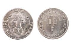 De geïsoleerde Belgische Kongo 10 Franc Coin Royalty-vrije Stock Afbeeldingen