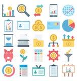 De Geïsoleerde betaling en de Financiën en de Vector Geplaatste Pictogrammen bestaan met Bankwezen, financiën, betaling en digita royalty-vrije illustratie