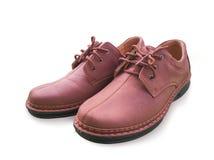 De geïsoleerde bruine schoen van het mensenleer Royalty-vrije Stock Foto