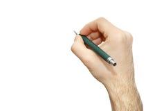 De geïsoleerde bureau mannelijke hand met pen schrijft een idee witte achtergrond Stock Afbeeldingen