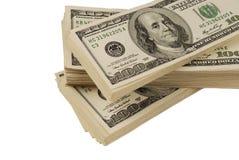 De geïsoleerde close-up van het dollarbankbiljet geld stock afbeelding