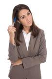 De geïsoleerde ernstige en droevige bedrijfsvrouw heeft problemen Royalty-vrije Stock Foto