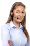 De geïsoleerde exploitant van de steuntelefoon in hoofdtelefoon Stock Foto