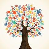 De geïsoleerde handen van de diversiteitsboom vector illustratie