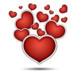 De geïsoleerde harten van groot en klein rood Valentine, Stock Afbeeldingen