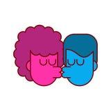 De geïsoleerde kerel en het meisje van de liefdekus Minnaars die hartstocht kussen vector illustratie