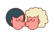 De geïsoleerde kerel en het meisje van de liefdekus Minnaars die hartstocht kussen royalty-vrije illustratie