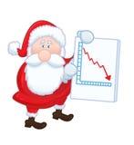 De geïsoleerde Kerstman met negatieve grafiek Royalty-vrije Stock Foto