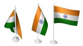 De geïsoleerde 3 Kleine Vlag die van Bureauindia 3d Realistische Indische Bureauvlag golven Stock Foto's