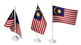 De geïsoleerde 3 Kleine Vlag die van Bureaumaleisië 3d Realistische Maleise Bureauvlaggen golven royalty-vrije illustratie
