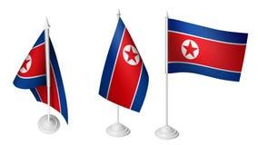 De geïsoleerde 3 Kleine Vlag die van Bureaunoord-korea 3d Realistische Vlag van het het Noorden Koreaanse Bureau golven Stock Fotografie