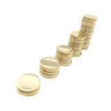 De geïsoleerde marktgroei als gouden stapels van de muntstukstapel Royalty-vrije Stock Fotografie